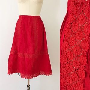 Vintage Red Lace Midi Skirt Pleated Cotton Summer